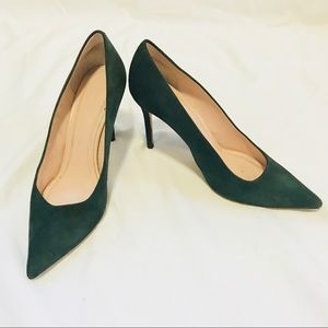 CELINE green suede pumps - size 37.5